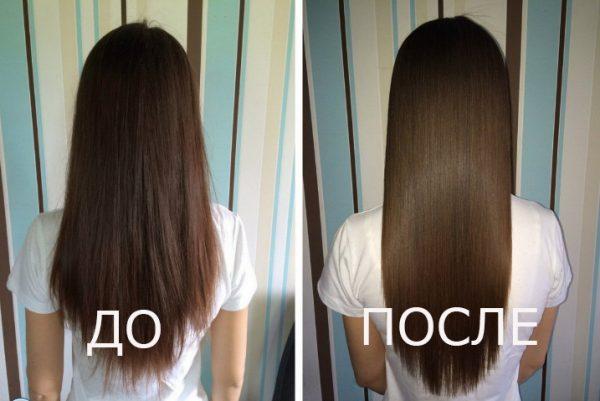 Волосы до и после применения масла ши