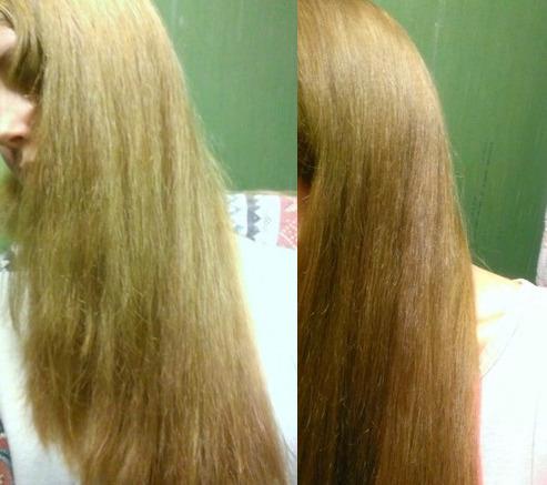 Состояние волос до и после применения масла мандарина