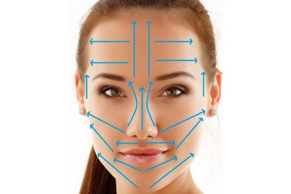 Схема массажных линий на лице