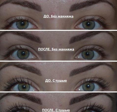 Ресницы девушки с тушью и без до и после использования масла жожоба на протяжении месяца