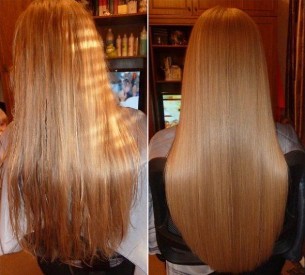 Волосы до оздоровительных процедур и после