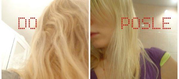Волосы девушки до и после аромарасчёсывания с маслом иланг-иланга
