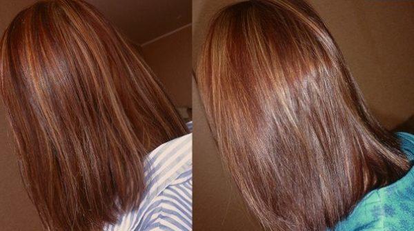 Волосы девушки до и после использования маски с маслом жожоба