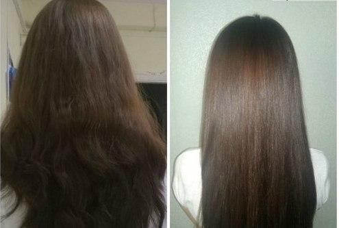 Волосы девушки до и после использования масла авокадо для волос