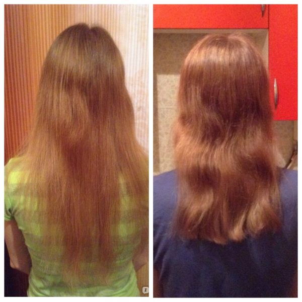 Волосы девушки до и после применения масла авокадо