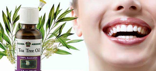 Масло чайного дерева и здоровые зубы девушки