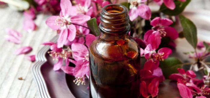 Бутылочка с маслом и цветы герани