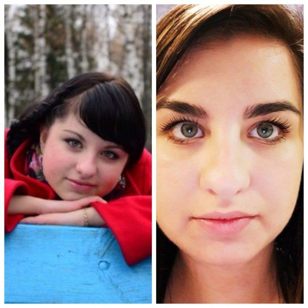 Девушка до и после использования репейного масла для бровей