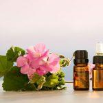 Эфирное масло герани в тёмных флаконах и цветы