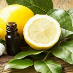 Эфирное масло лимона в тёмном флаконе и фрукты