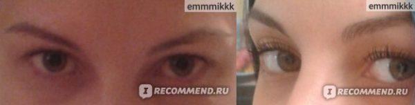 Фото ресниц и бровей: до и после