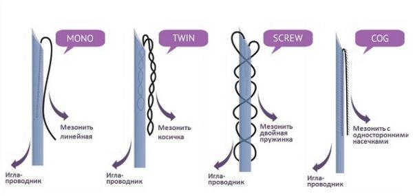 различные типы мезонитей