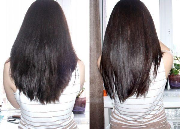 Волосы девушки до и после применения персикового масла