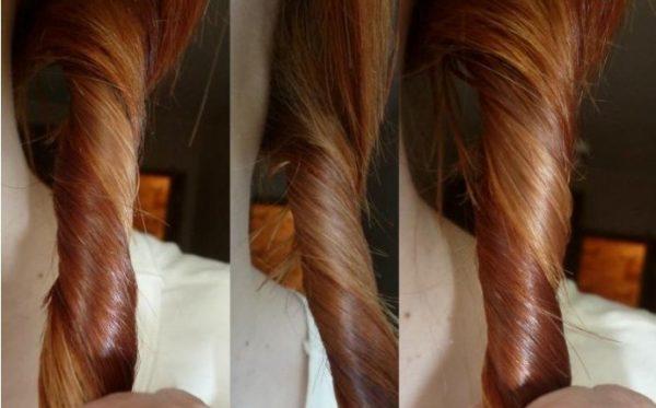 Волосы девушки, которая использует маску с персиковым маслом для ухода за шевелюрой