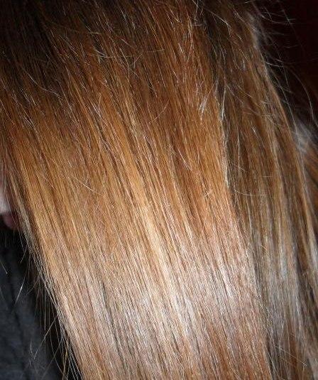 Волосы девушки, которая использует персиковое масло для волос в качестве самостоятельной маски