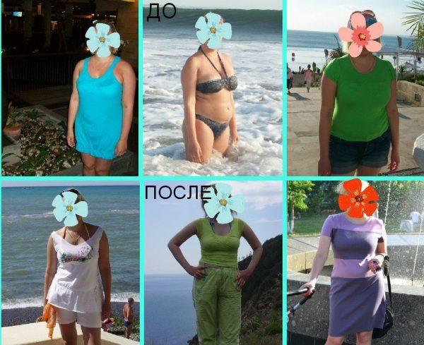 Женщина до и после использования семян льна для похудения
