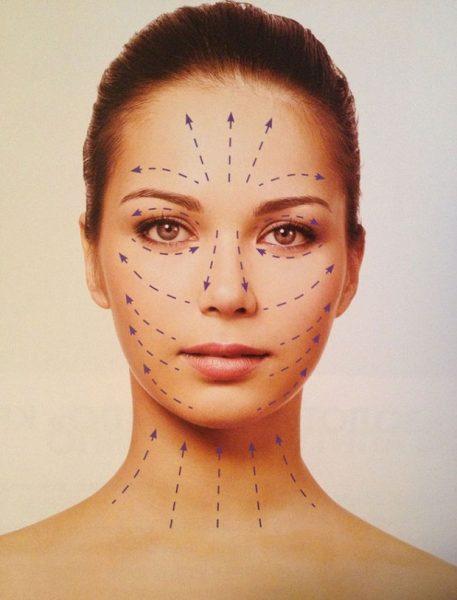Массажные линии на лице девушки