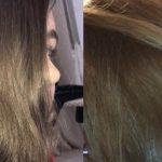 Волосы до и после окрашивания оттенком Чёрный
