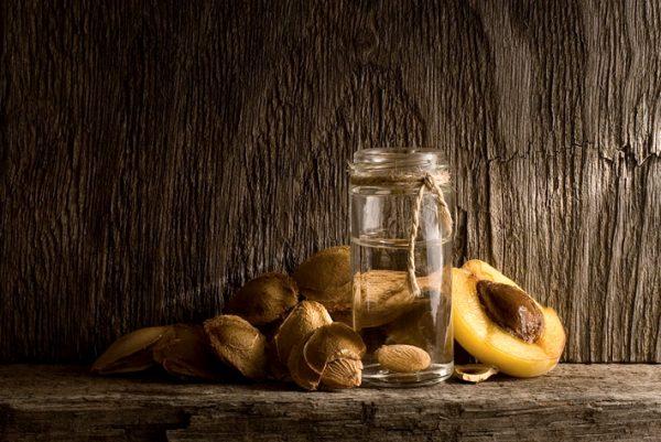 Косточки абрикосов и масло во флакончике