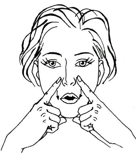 Схема выполнения упражнения Кэрол Маджио от носогубных складок