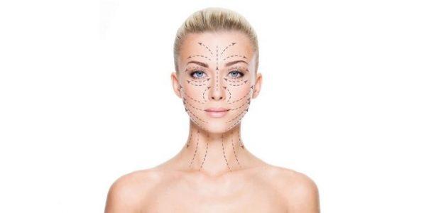 Схема массажных линий на лице и шее