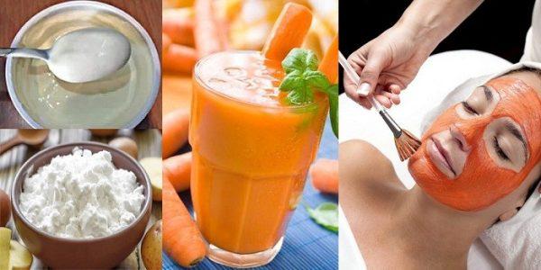 Крахмал, сок из моркови и женщина, которая делает маску для лица
