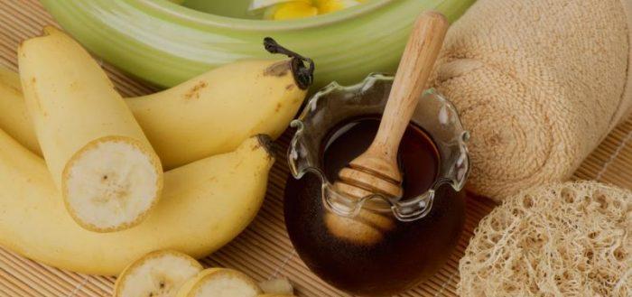 Бананы, мёд, полотенце, люффа
