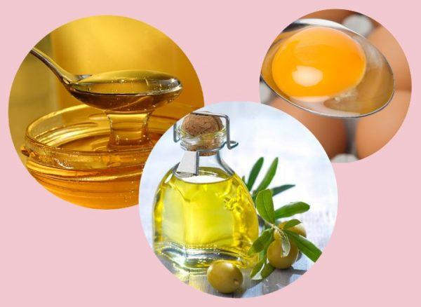 Яичный желток, мёд и оливковое масло