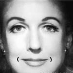 Линия улыбки, нарисованная карандашом на лице женщины