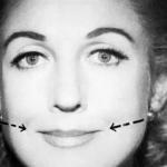 Стрелками указано направление на лице женщины, в котором нужно сдвигать губы
