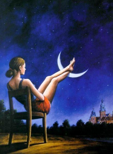 Девушка на стуле вытянула ноги на луну