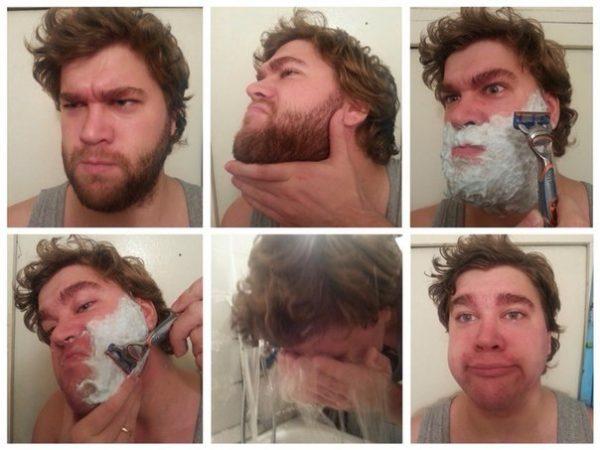 Процедура бритья бороды