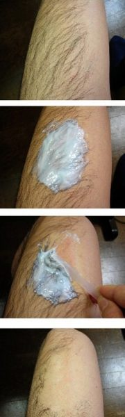 Этапы использования крема для депиляции