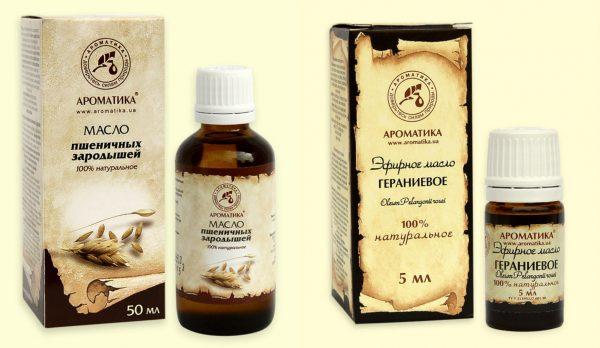 Масло пшеничных зародышей и гераниевое масло