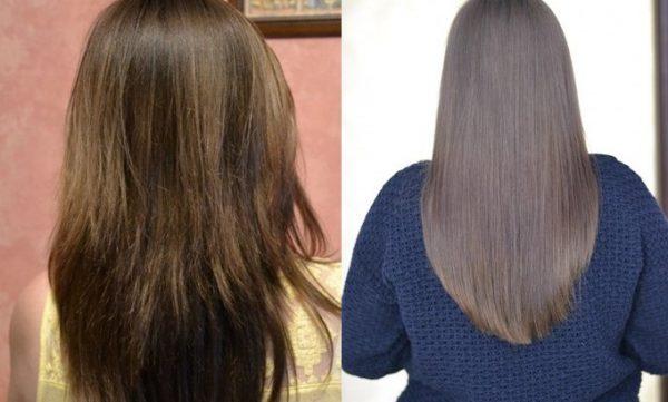 волосы до и после применения кокосового масла