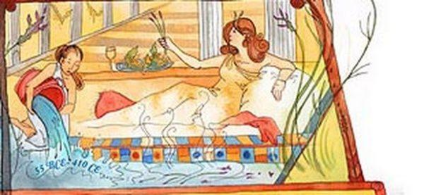 Знатная римлянка собирается принять ванну с лавандой