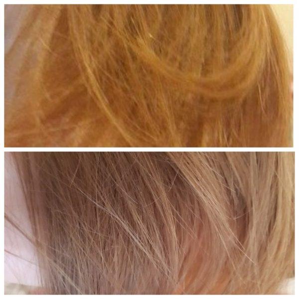 Волосы девушки до и после использования масла жожоба в чистом виде