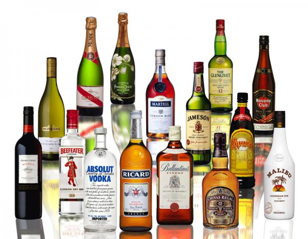 Алкогольные напитки в бутылках