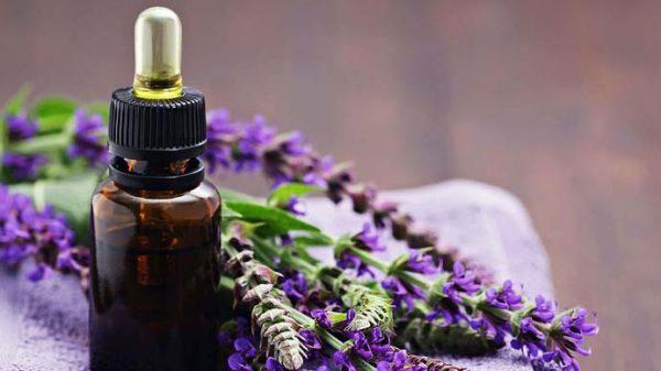 Эфирное масло шалфея в тёмном флаконе и цветы