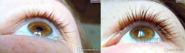 Фото ресниц до и после использования репейного масла