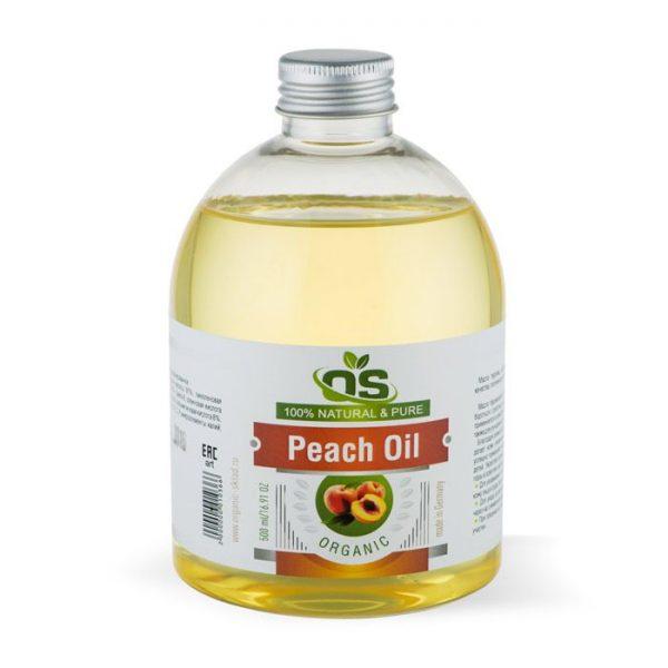 Прозрачная бутылка с персиковым маслом