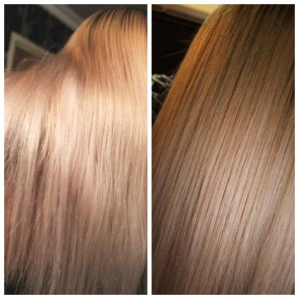 Волосы девушки до и после использования желатиновой маски