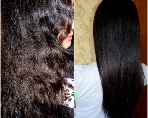 Волосы девушки до и после применения маски на основе желатина