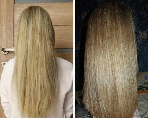 Волосы девушки до и после одной процедуры ламинирования желатином