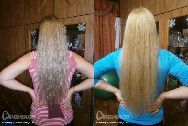 Фото волос до и после медовой маски с ромашкой
