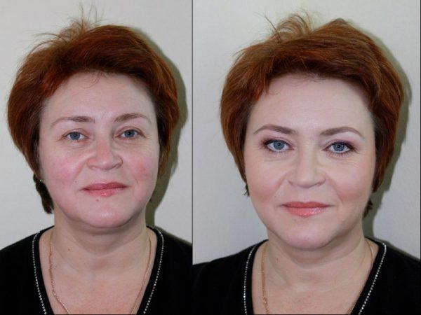 До и после омолаживающего макияжа