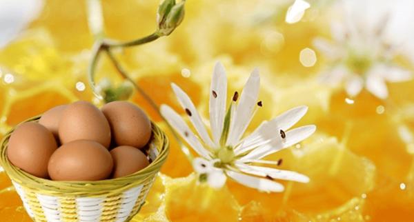 Яйца в корзинке и медовые соты на заднем плане