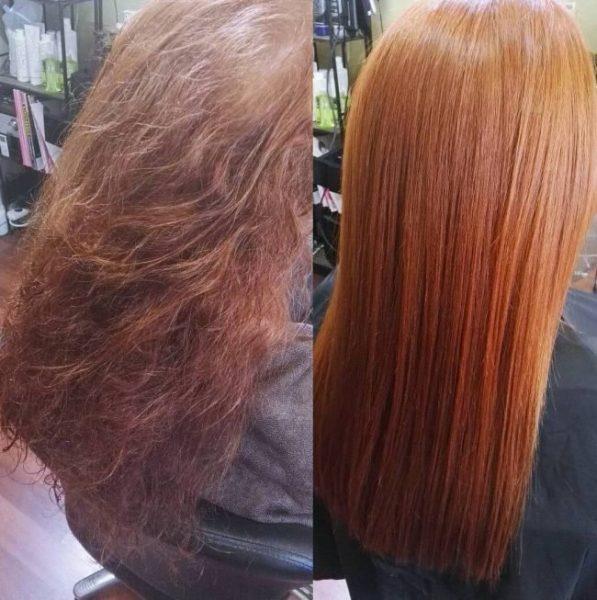 До и после каутеризации волос