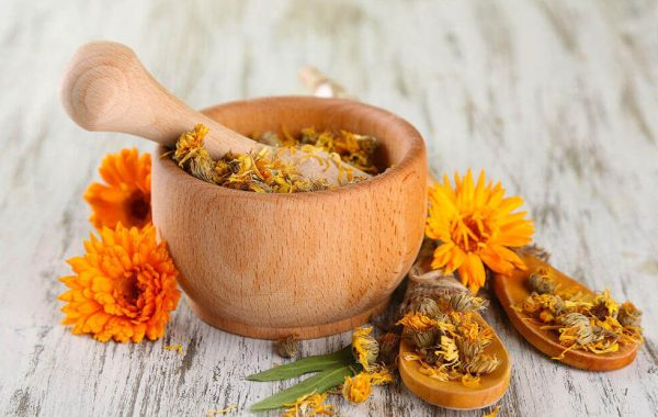 Сухие цветки календулы в деревянной пиале