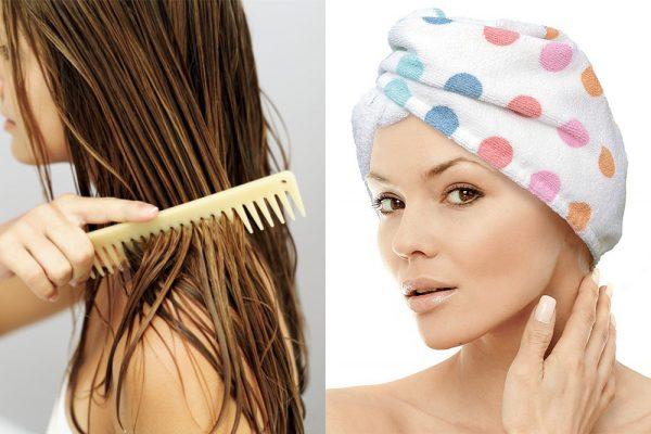 Женщина, расчёсывающая волосы и женщина в полотенце